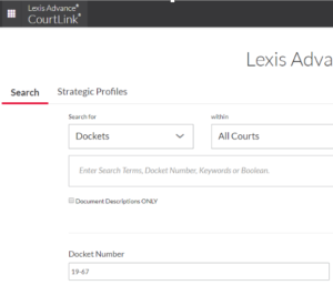 Screenshot of Lexis Courtlink